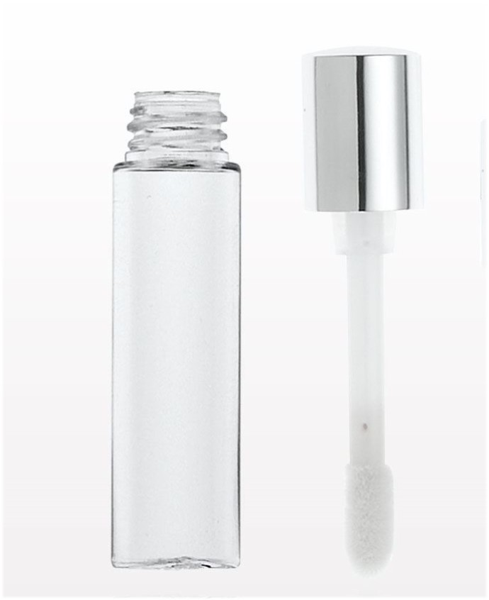 Lipgloss Container, Shiny Silver with Sponge Tip, 3.5ml